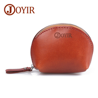 JOYIR Genuine Leather Women Coin Purse Lady Money Purse Wallet Coin Holder Mini Purse Bag Shell Zipper Small Coin Bag