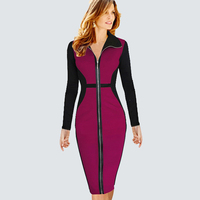 2014 Autumn New Arrival Fashion Women Dress Patchwork Slim Fit Bandage Dress Elegant Long Sleeve Winter