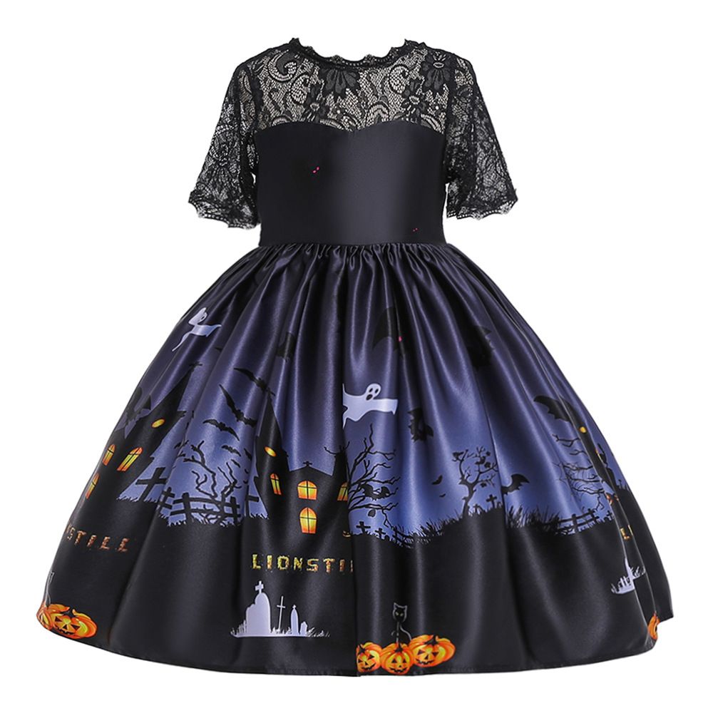 Girls Dresses For Kids 2019 Halloween Cosplay Party Dress Clothes Teens Princess Dress Hat Children Christmas Carnival Dresses in Dresses from Mother Kids
