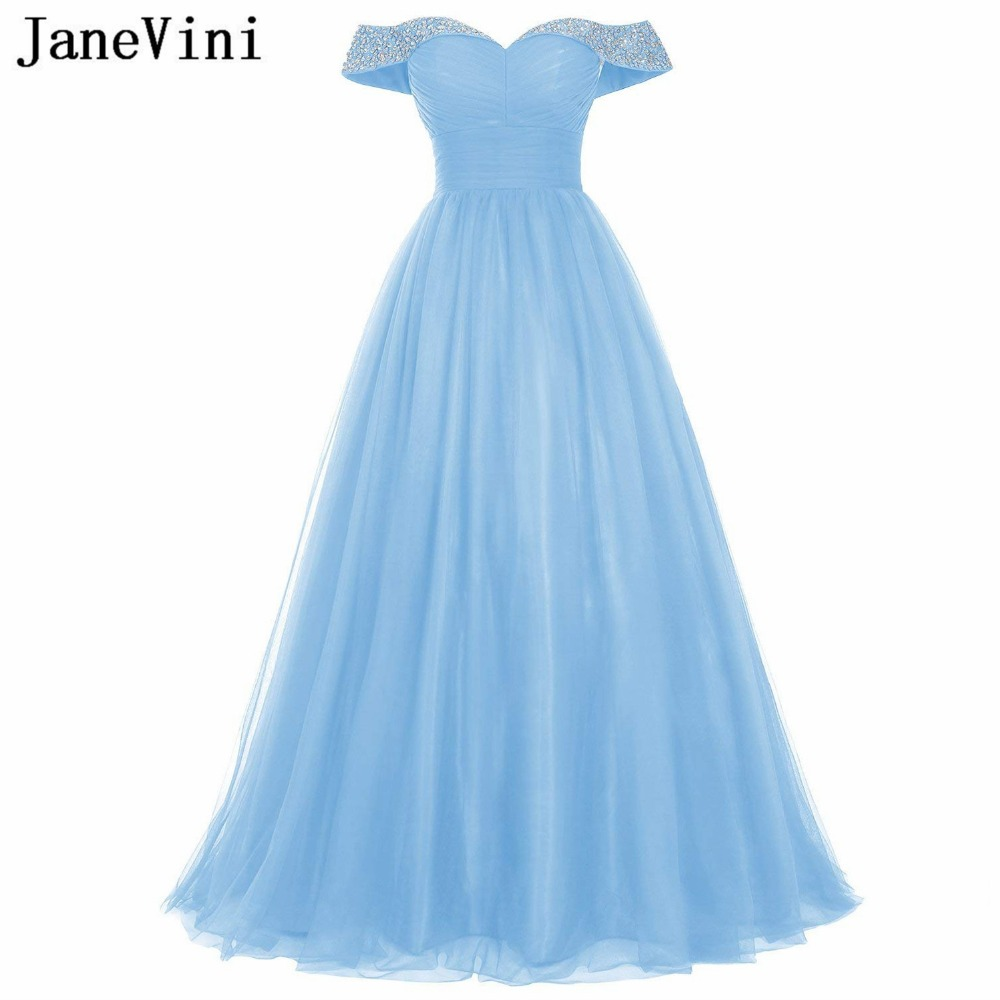 JaneVini Graceful Sky Blue Beads Crystal Long   Bridesmaid     Dresses   Tulle Sweetheart Backless Floor Length A Line Formal Prom Gowns