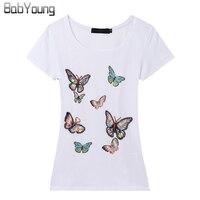 New Arrival Korean Slim Brand T Shirt Women Hand Beaded Butterfly T Shirts For Women Poleras