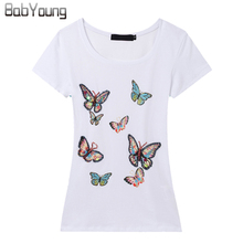 New Arrival Korean Slim Brand T Shirt Women Hand-Beaded Butterfly T-Shirts For Women Poleras De Mujer Big Yards Clothes цена