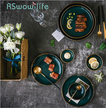 Light Luxury Style Court Gold Side Emerald Tableware Ceramic Dish Soup Spoon Sauce Cutlery Snack Dishes For Dinnerware