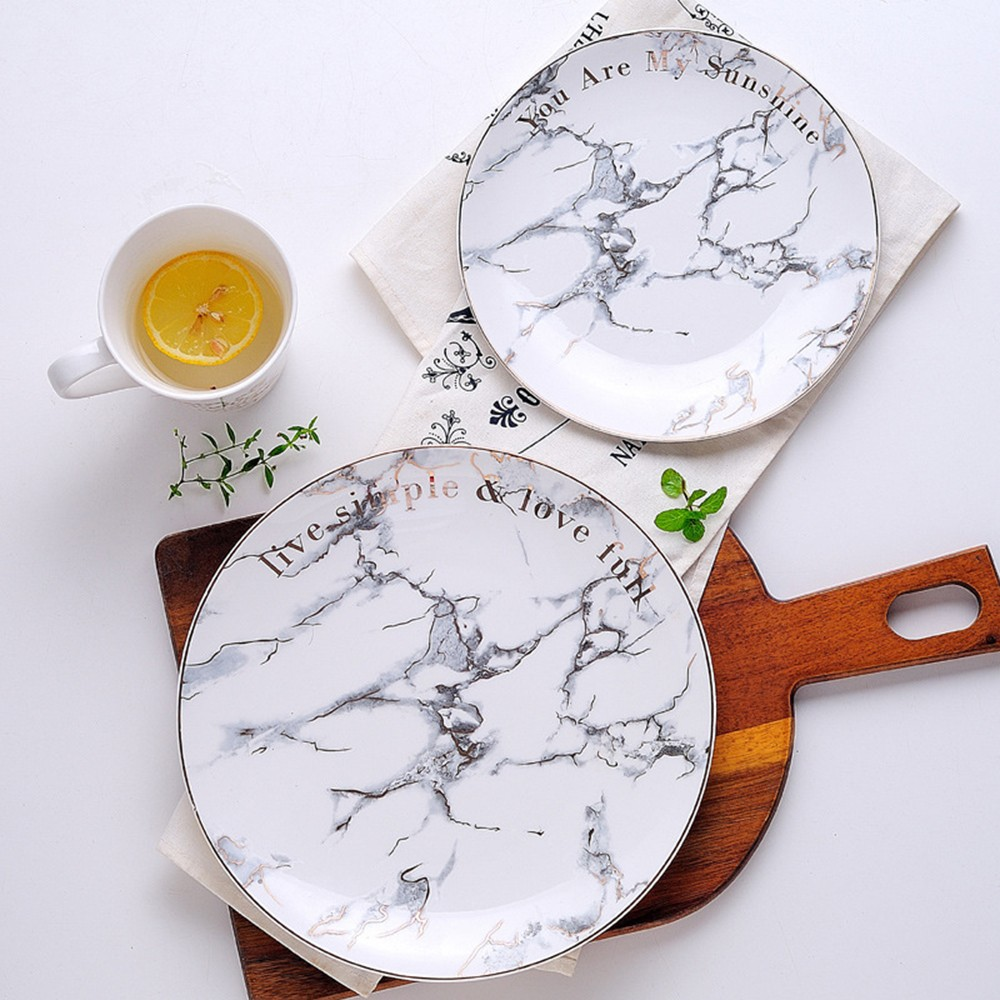 Western Salad Dishes: Nordic Style Ceramic Storage Tray Traced Gold Marble