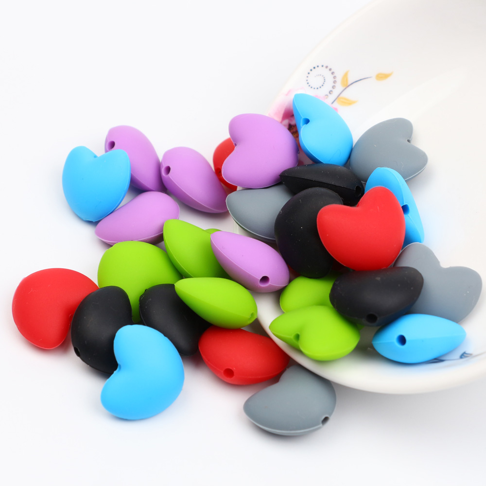 TYRY.HU 100Pcs/Lot LOVE Heart Shaped Silicone Beads Teething Baby Teethers DIY Pacifier Chain Food Grade Silicone  BPA Free