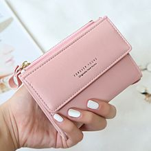 Women Matte Leather Small Wallet PU Short Letter Purse Solid Hasp Carteira Credit Cards Holder Money Wallets