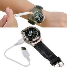 1 pc Briquet USB Briquet Montre horloge de cadeau Hommes montre Militaire Quartz Montres Coupe-Vent Sans Flamme Cigarette Cigare H5