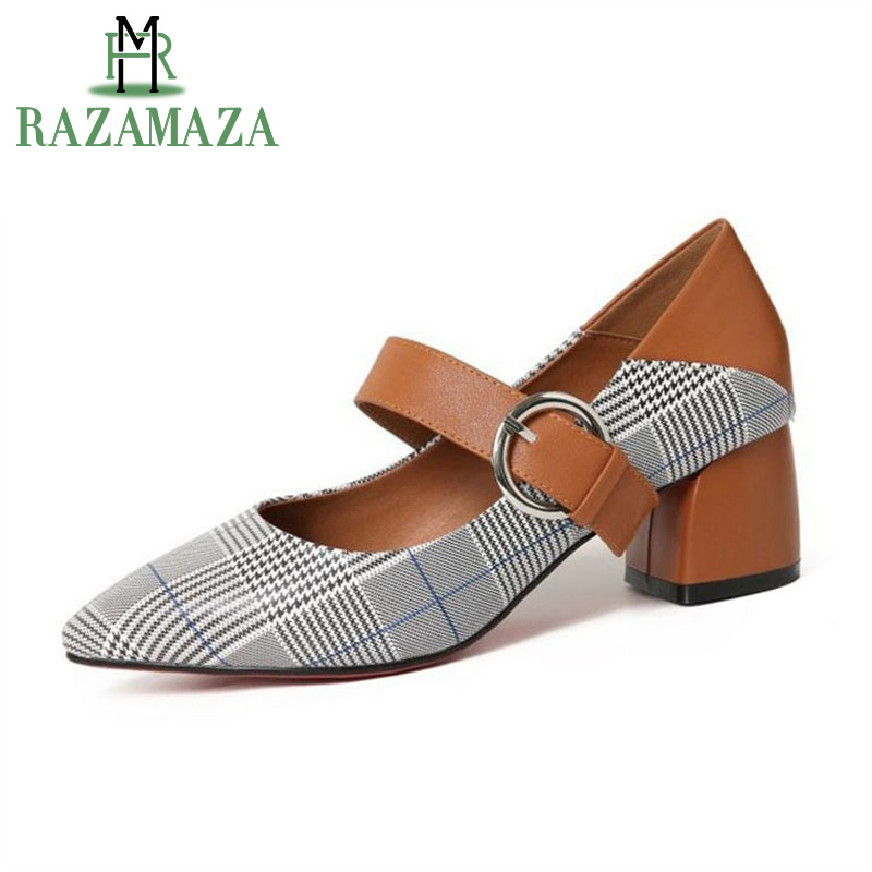 ZALAVOR British Style Women Genuine Leather High Heel Shoes Women Plaid Buckle Thick Heel Pumps Women