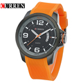 CURREN 2017 Men Vogue Sport Watch Silicone Luxury Watch Relogio Masculino High Quality With Complete Calendar With Blue Orange