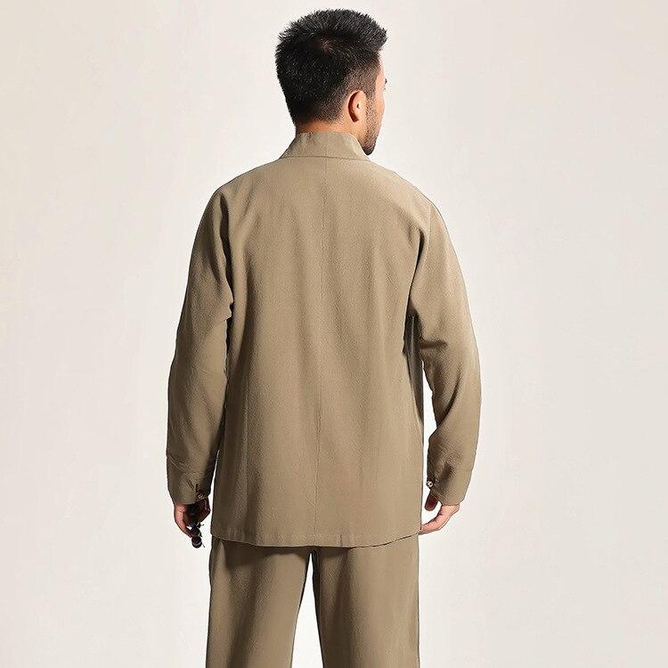 High Quality Gray Chinese Men's Cotton Kung Fu Suit Solid Color Wu Shu Sets Shirt&Pant Uniform S M L XL XXL XXXL - 6