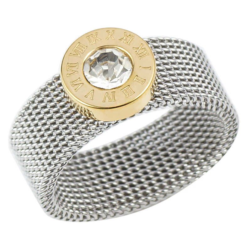 ทองเงินสแตนเลสสตีลแหวนขนาดใหญ่รอบคริสตัลนิ้วมือแหวนตัวเลขโรมันแหวนรอบแหวนไทเทเนี่ยมสำหรับสตรีผู้ชาย