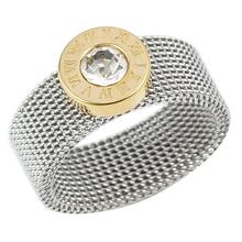 Złoty kolor srebrny pierścień ze stali nierdzewnej duży okrągły kryształ siatki palec pierścień cyfry rzymskie pierścienie okrągły tytanowy pierścień dla kobiet mężczyzn tanie tanio JOVO LOVE STAINLESS STEEL Kobiety Metal Klasyczny Obrączki ślubne ROUND Zgodna ze wszystkimi Poprawiające nastrój MSXRYIF0000237DH