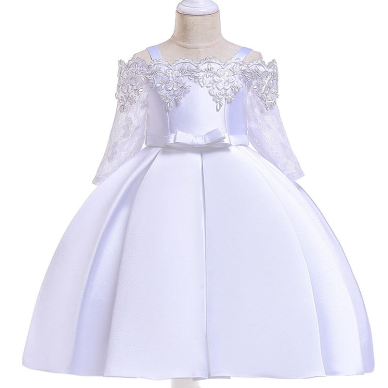 European American Flower Girl Wedding Dress Shoulderless