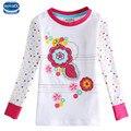 2015 nova marca as crianças usam bordados de flores menina branca o-pescoço primavera & outono t-shirt de manga comprida para 2-6y bebés