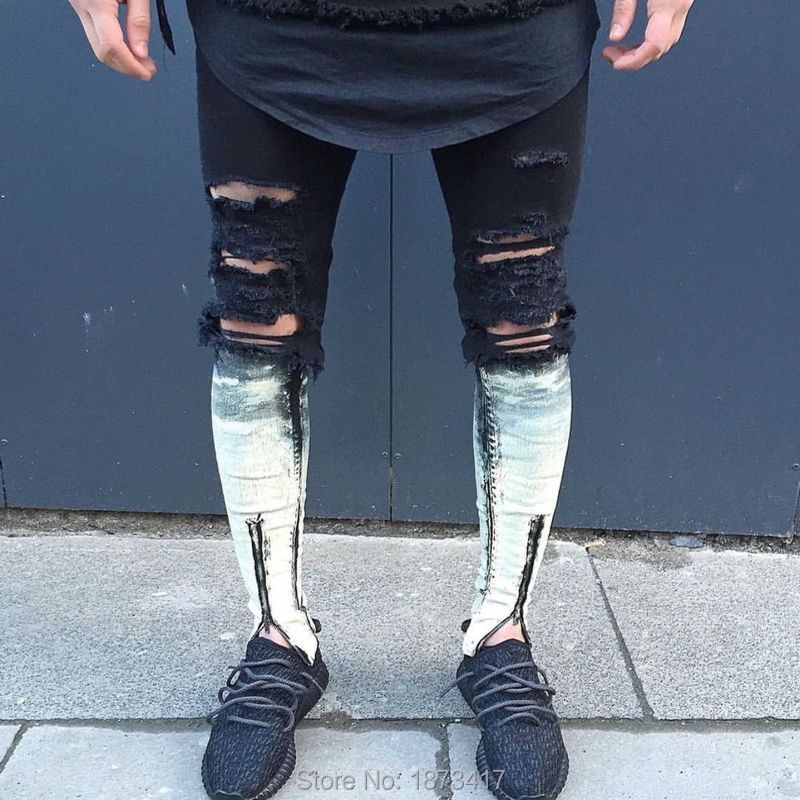 18738d845d Patchwork Zipper Jeans Para Hombre Flaco Apenada Ripped Delgado ...