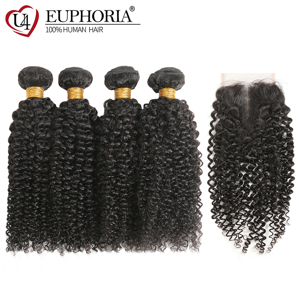 Kinky Curly Hair Bundles With Lace Closure Euphoria Brazilian Natural Color Human Hair Weaves With Closures