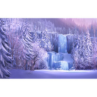 Frozen Waterfall Winter Scenic Photography Backdrop Forest Trees Icefall Princess Girl's Birthday Party Photo Booth Background