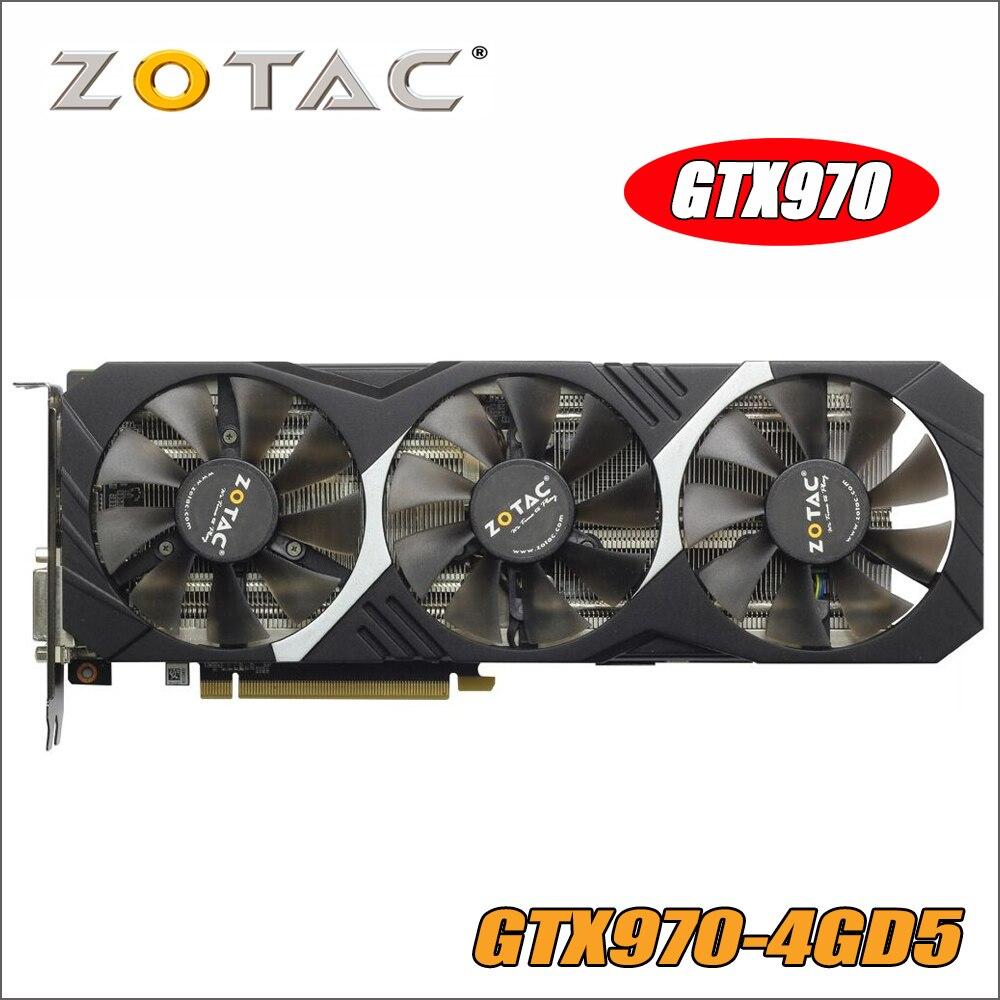 ZOTAC Carte Vidéo GeForce GTX 970 4 gb 256Bit GDDR5 Cartes Graphiques pour nVIDIA GM204 D'origine GTX970 1050 1050ti ti 4GD5 Hdmi Dvi