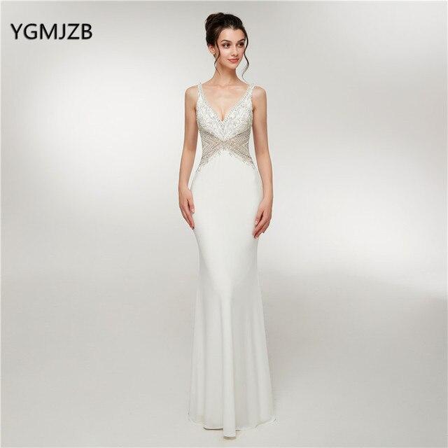 0d1fad27000 Elegant White Evening Dress Long 2018 Mermaid V Neck Beaded Crystal Backless  Women Formal Party Dresses Vestido De Festa