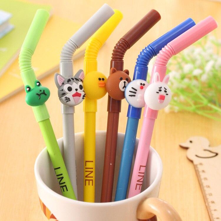 6-pz-lotto-paglia-Fumetto-penna-inchiostro-gel-Sveglio-Linea-amici-orso-Bruno-Doraemon-Stationery-Office