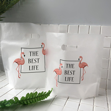 50PCS Flamingo Plastic Tote Bag Baking Dessert Shopping Gift Clothing Store Large Cookie Cake Wedding  Party