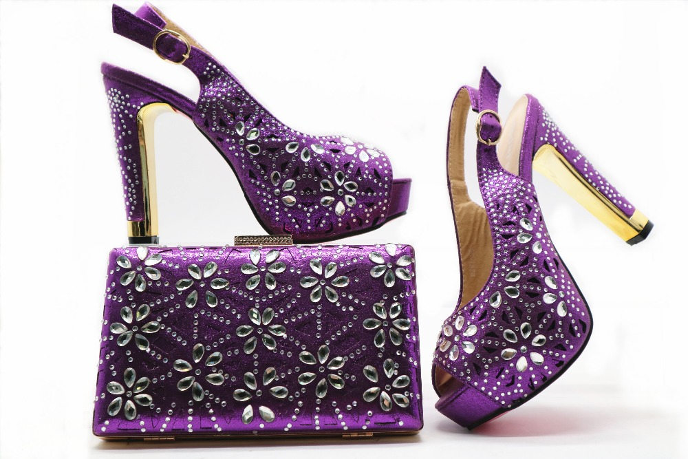 Purple clutches bag many stones and matching high heel 4.7 inches sandal shoes italy fashion with free shipping SB8150-4 cd158 1 free shipping hot sale fashion design shoes and matching bag with glitter item in black