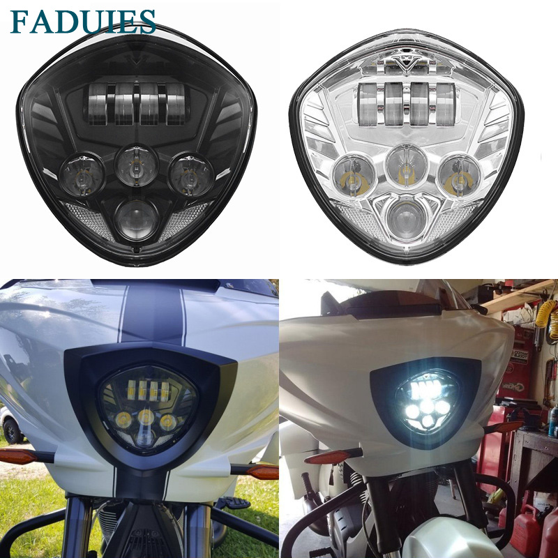 FADUIS 60W Motorcycles Cross Series LED Motorcycle Headlight With High Low Beam For Victory Cross Country Magnum цена