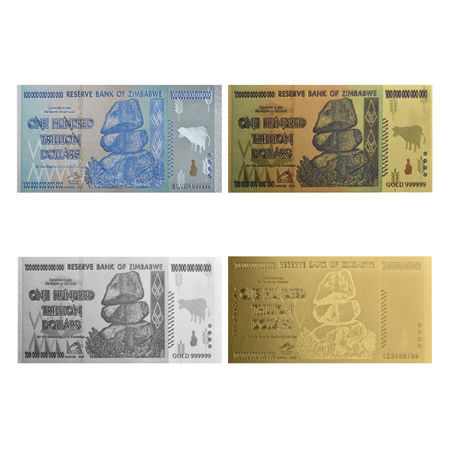 Wr 24k Gold Colorful 100 Trillion Dollars Zimbabwe Banknote Fake Banknotes Paper Money Collecting Replica