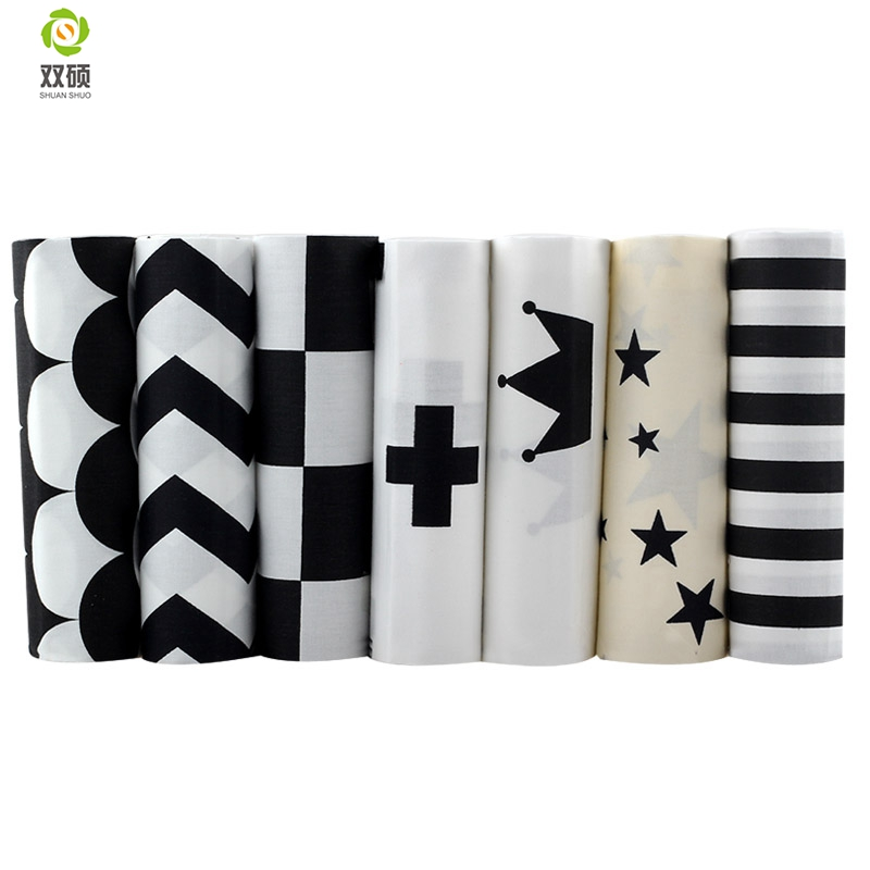 Black Pattern Group Cotton Fabric Telas Patchwork Fabric Fat Quarter Bundles Fabric For Sewing Doll Cloths 40*50cm 7pcs/lot