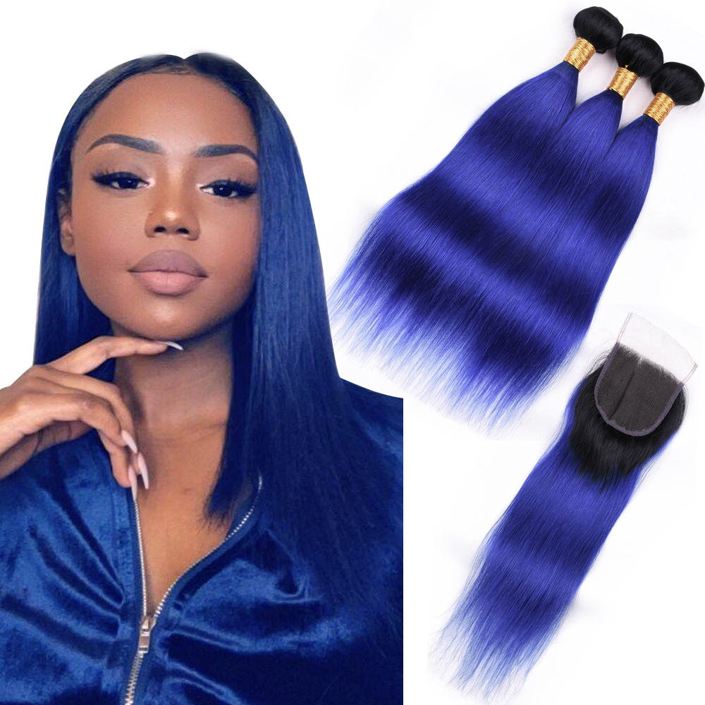 Beaudiva 3 Pieces Human Hair Brazilian Hair Bundles With Closure TB/Blue Color Straight Hair Lace Closure Remy Free Shipping
