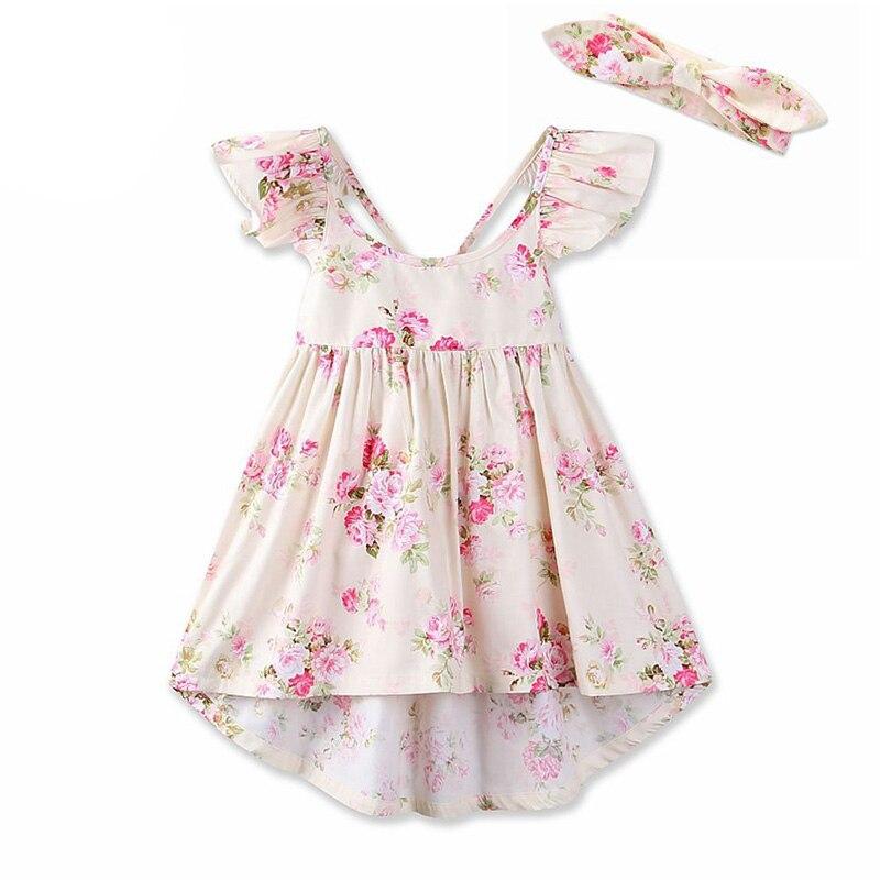82f06e23b91 2018 Été Enfants Une Ligne Robes pour Petites Filles Coton Imprimé Floral  Princesse Robe Bandeau Enfant Partie Tenue 6 Ans Bébé Fille