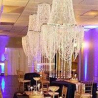 SUNLI дом 1 шт. D56CM металла серебро хромированный подвесной светильник люстра акриловые бусины AC Свадебные украшения Европейский стиль