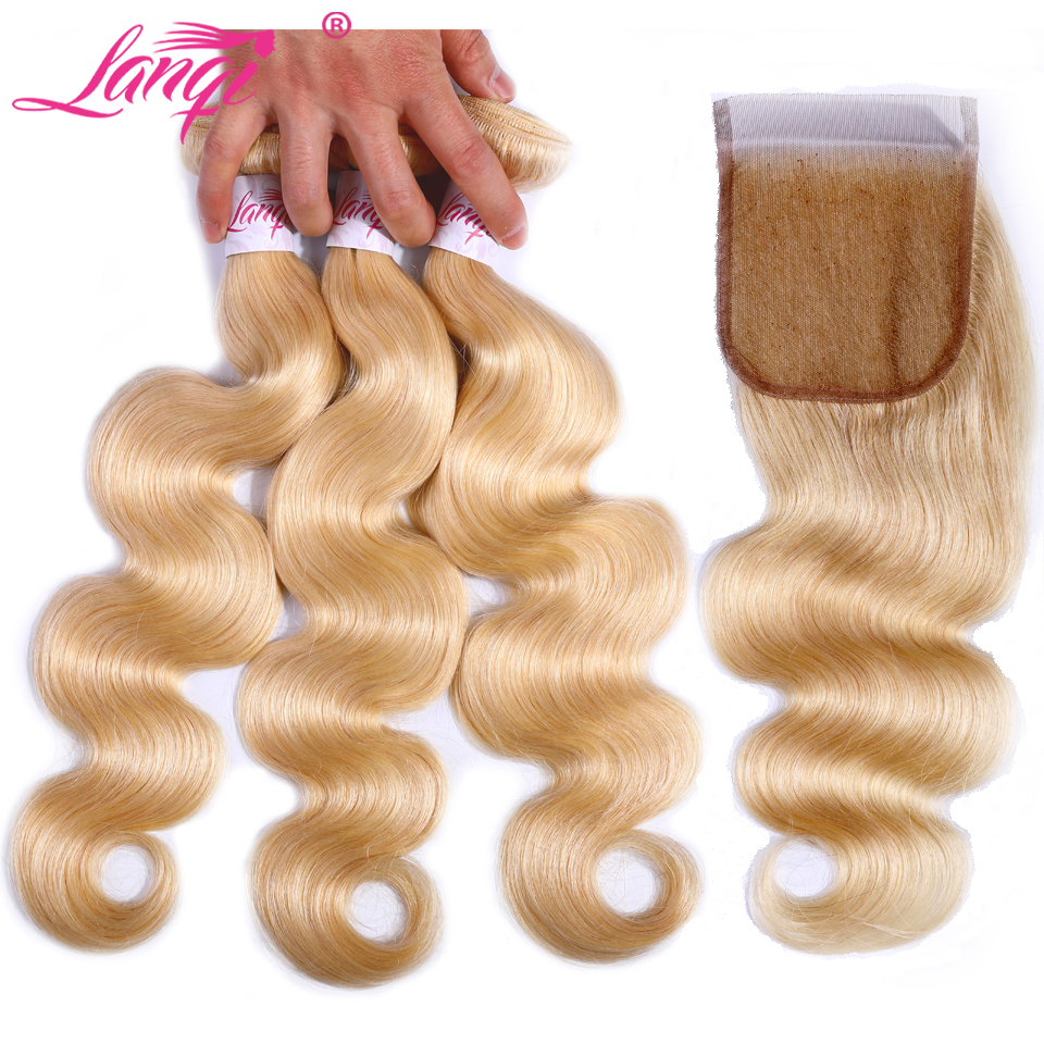 Human Hair Weaves 3/4 Bundles With Closure Brazilian 13*4 Lace Frontal With Bundles Pre Plucked Human Hair Honey Blonde 3 Bundles With Closure Colored 613 Pinshair Nonremy