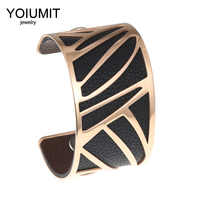 Yoiumit Cremo Cuff Bangles Leather Belt Stainless Steel Rose Gold Bracelets Jewelry Color Interchangeable Bangles For Women