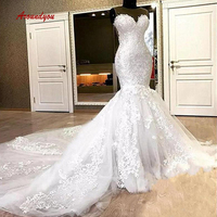 Elegant Lace Mermaid Wedding Dresses Plus Size Turkey Weding Weeding Bridal Bride Gowns Dresses