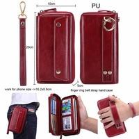 Finger Ring Belt Hand Strap PU Wallet Phone Case Pouch For Asus Zenfone 6 ZS630KL 6Z,ROG Phone,ZTE Axon 9 10 Pro 5G,Blade V10