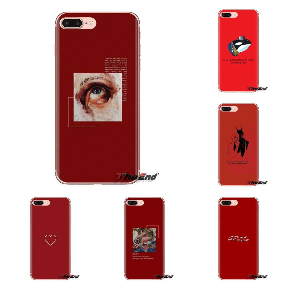 For Xiaomi Redmi 4A S2 Note 3 3S 4 4X 5 Plus 6 7 6A Pro Pocophone F1 Red doodles Quotes Transparent Soft Cases Covers