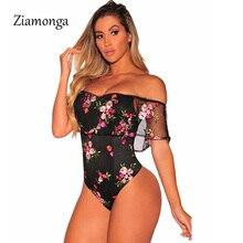 Ziamonga, топ с открытыми плечами, цветочной вышивкой и рюшами, летний сексуальный боди, женский черный облегающий Топ, элегантный боди, женский костюм