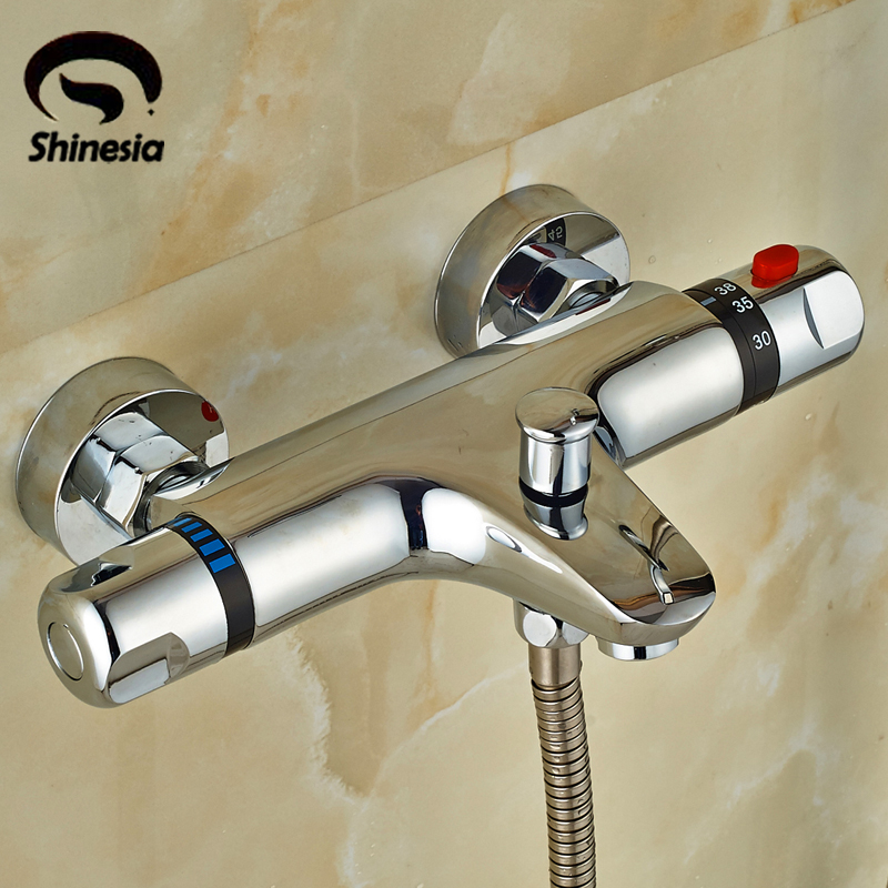 Chrome Polished Solid Brass Bathroom Thermostatic Shower Faucet Valve Faucet Accessories Wall Mounted wall mounted thermostatic shower faucet 2