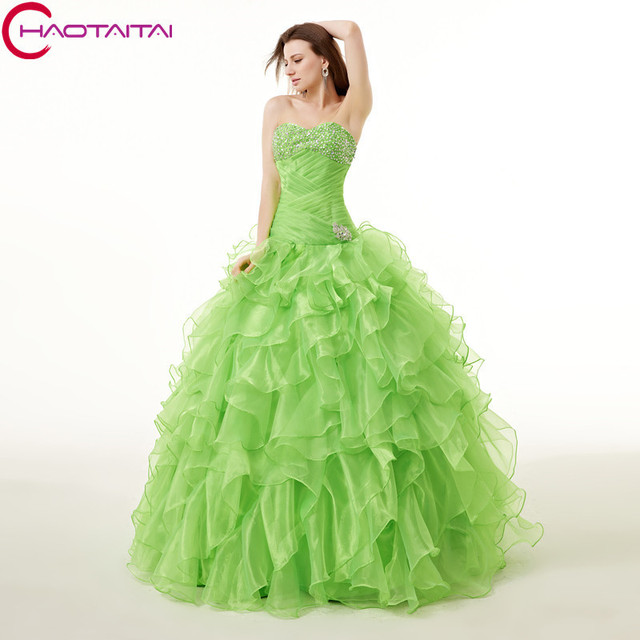 c287ff19d6c Floor Length Green Organza Ball Gown Prom Sequins Beaded Shinny sweet 15 Quinceanera  Dresses