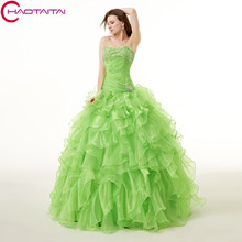 Floor Length Green Organza Ball Gown Prom Sequins Beaded Shinny candy 15 Quinceanera Dresses