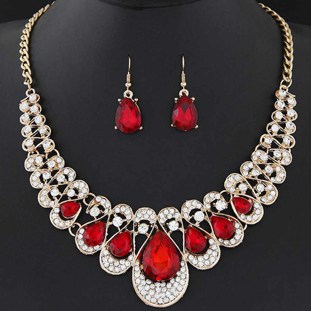 Fashion Jewelry Necklace Earrings Set Womens Mixed Style Bohemia color Bib Chain Necklace Earrings Bridal Jewelry Sets