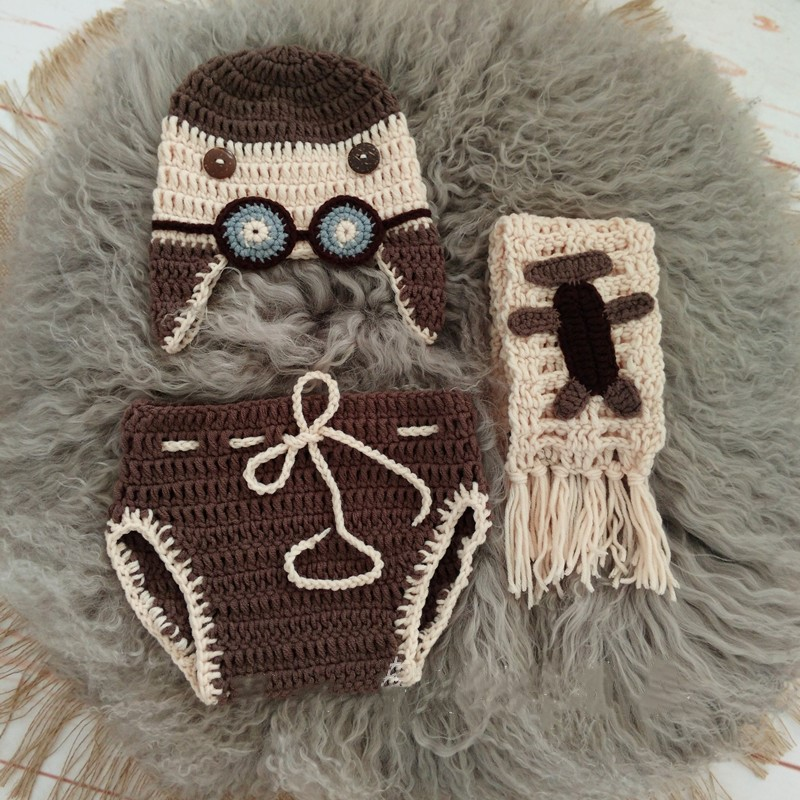 Newborn Baby Pilot Hat Clothes Set Photo Props Baby Crochet Earflap Hat +Scarf +Pants Baby Photography Newborn Props Accessories