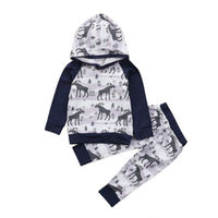 Newborn Baby Boys Girls Christmas Clothes Hoodiesd Tops Deer Pants Outfits Baby Clothing
