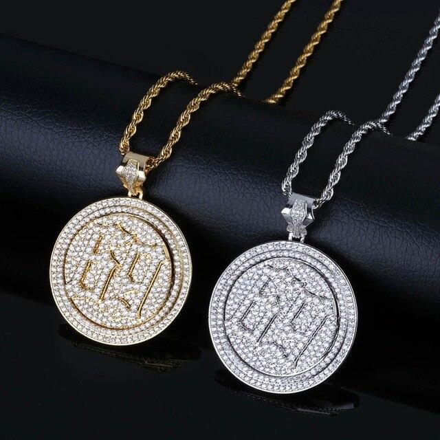TOPGRILLZ Spinner 69 пила ожерелье с кулоном и буквой для мужчин Iced Out кубический циркон цепи хип хоп/панк золотые подвески серебряного цвета ювелирн...