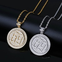 TOPGRILLZ Spinner 69 Saw Letters Pendant Necklace Men Iced Out Cubic Zircon Chains Hip Hop/Punk Gold Silver Color Charms Jewelry
