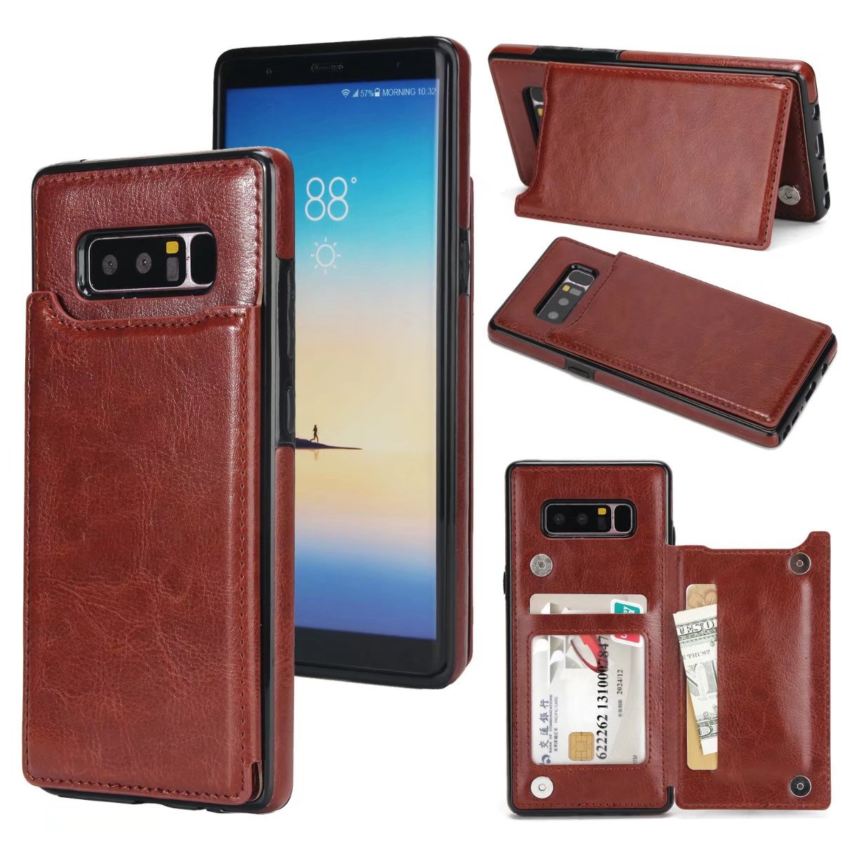 Mooshion Note8 Phone Flip Holder Stand Luxury Leather