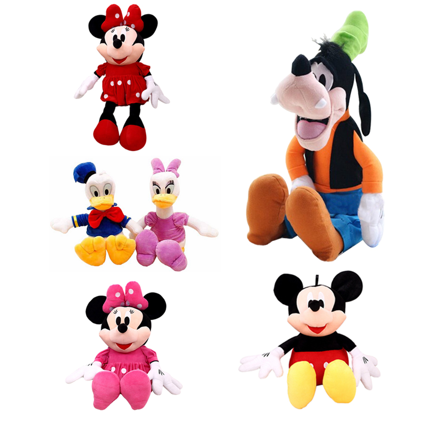 цена на 7 Styles 30cm Mickey Mouse Minnie Donald Duck Daisy Goofy Dog Pluto Dog Plush Toys Cute Stuffed Dolls Classic Cute Children Gift