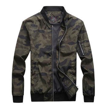 M-7XL 2020 nowa jesienna męska kurtka moro męskie płaszcze Camo Bomber Jacket męskie marki odzież znosić Plus rozmiar M-7XL tanie i dobre opinie HANQIU zipper Camo Jacket Men REGULAR STANDARD NONE Poliester Stałe Zamki Na co dzień MANDARIN COLLAR Konwencjonalne Outerwear Coats
