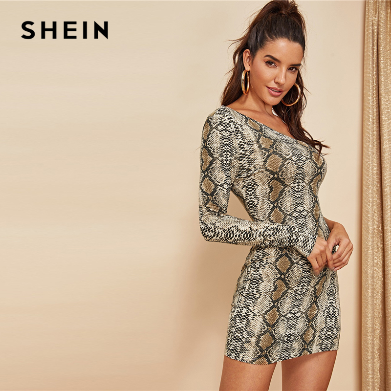 SHEIN Multicolor Sexy Club Asymmetrical One Shoulder Snake Pattern Long Sleeve Bodycon Dress Autumn Party Women Pencil Dresses